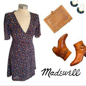 MADEWELL- Cross Front Mini Dress floral flowy XS